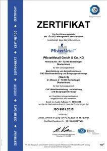 Zertifikat PfisterMetall